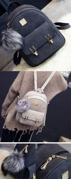 Fashion Frosted PU Zippered School Bag With Metal Lock Match Backpack for my sister! #student #school #college #bag #backpack #girl #cute #black #shoulder
