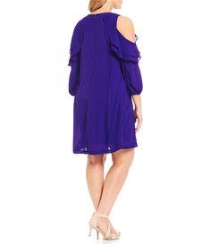 Jessica Howard Plus Ruffled Cold Shoulder Dress | Dillards