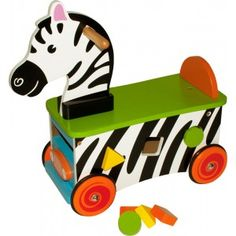 Zebra Rode-On  This has to be one of our coolest toys! This funky wooden zebra ride on is extremely eye-catching in his black and white stripes and will help to develop your child's leg muscles as they push themselves around. They'll be particularly delighted by the shape sorter in his tummy, with multi coloured blocks included.