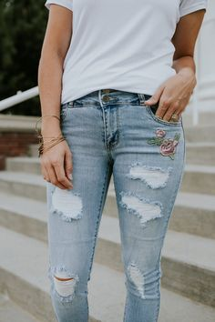 Distressed Skinny Jeans with Embroidered Patches | ROOLEE