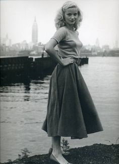 40s 50s beauty | vintage 1950s shirt blouse + skirt | standing beside a river
