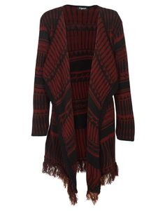 Tribal Print Open Front Tassel Knitted Cardigan in Burgundy € 17.51 #chiarafashion