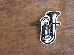 Tuba brooch  brass instrument  shrinking plastic  by constarlation, €5.95