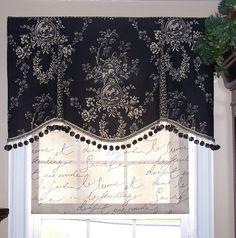 Black & white floral toile valance w black pom trim; French script shade...GORG