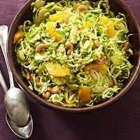 Shaved Brussels Sprouts with Green Onion Vinaigrette. Brussels sprouts are the surprising base of our orange- and cashew-studded slaw. A quick lemon-and-honey dressing adds sweet and tangy flavor to this updated potluck salad.