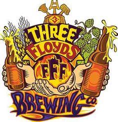 THREE FLOYDS BREWING Logo GOLD SKULL CIRCLE STICKER decal craft beer brewery
