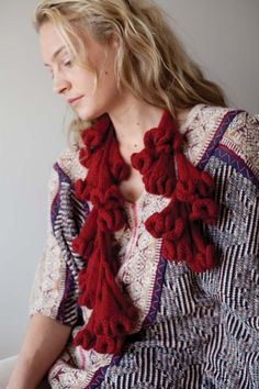 Foxglove Boa featured in Knitting from the Center Out by Daniel Yuhas   Photograph by Jody Rogac