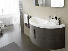 Single vanity unit with mirror COMP M08 Moon Collection by IdeaGroup