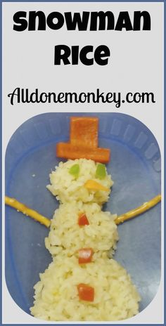Snowman Rice: Winter Fun for Kids - Alldonemonkey.com
