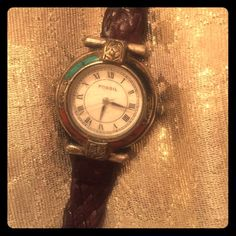 Women's vintage Fossil Watch Unique - silver and turquoise face - needs new battery Fossil Accessories Watches