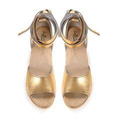 2068b86124 Loeffler Randall - Inge ankle wrap clog Gold Wedges