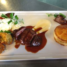 Crumbed lamb sweetbreads, lamb livers, and lamb neck pithivier - a great nose to tail special