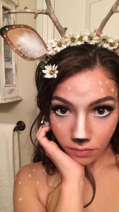 Deer/ Fawn/ Bambi Makeup~ really want to do this for Halloween Costume Halloween, Halloween Make Up, Halloween Party, Halloween Ideas, Homemade Halloween, Diy Womens Halloween Costumes, Deer Halloween Makeup, Reindeer Makeup, Xmas Costumes