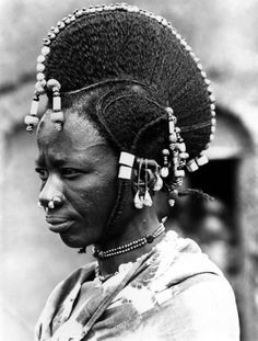 Real Photo Postcard, Niger, elaborate hairstyle of nomads-Woman, labitte, African Tribes, African Braids, African Women, Fulani Braids, Ghana Braids, Skin Girl, Traditional Hairstyle, African American Hairstyles, African Culture