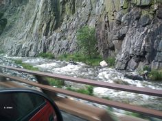 Following the Big Thompson River going up the mountain in Colorado