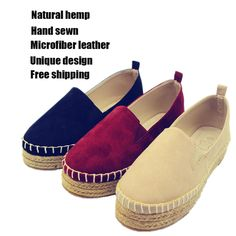 Cheap Alpargatas mujeres de plataforma pisos mocasines de lona zapatos planos de cáñamo yute calzado casual platfporm alpargatas para mujeres transpirable,