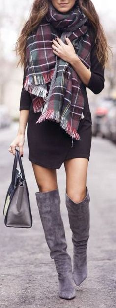 black mini dress. over the knee boots. plaid scarf.