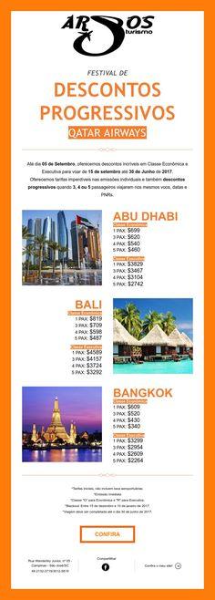 Descontos Progressivos para Bali, Bangkok e Abu Dhabi