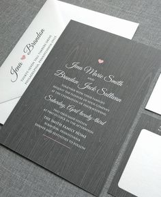 Jena Gray Woodgrain Rustic Wedding Invitation Sample