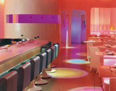 Pod restaurant on 36 & Samson. Love the sushi conveyor belt!