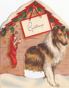 Vintage Greeting Card Christmas Collie Dog House Stand-Up i986