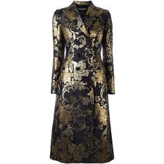 Dolce & Gabbana floral brocade midi coat (£2,935) ❤ liked on Polyvore featuring outerwear, coats, black, floral coat, long sleeve coat, brocade coat, dolce gabbana coat and pattern coat