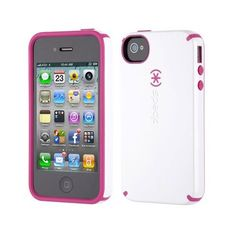 Amazon.com: Speck SPK-A0588 Candyshell Glossy Case for iPhone 4S/4 - 1 Pack - Retail Packaging - White/Pink: Cell Phones & Accessories