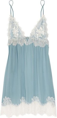 """(Jenny Packham Chantilly Lace and Silk-chiffon Chemise in Blue) """"Something blue"""" lingerie. Belle Lingerie, Lingerie Azul, Sexy Lingerie, Lingerie Babydoll, Lingerie Outfits, Pretty Lingerie, Bridal Lingerie, Beautiful Lingerie, Lingerie Sleepwear"""