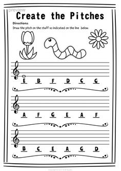 Treble Clef Note Naming Worksheets for Spring * Anastasiya Multimedia Studio Piano Lessons For Kids, Violin Lessons, Bass Clef Notes, Music Theory Worksheets, Primary Music, Piano Teaching, Music Activities, Elementary Music, Music For Kids