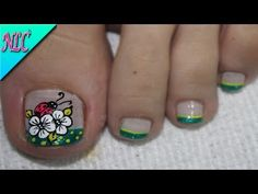 DECORACIÓN DE UÑAS MARIQUITA Y FLORES PARA PIES - LADYBUG NAIL ART - FLOWERS NAIL ART - NLC - YouTube