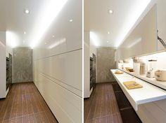 Design Idee Pull Out Küchenarbeitsplatten (10 Bilder) / / In dieser weißen Streamline-Küche, die Arbeitsplatten sind vollständig ausgeblendet, bis benötigt.