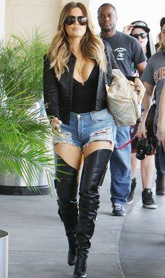 Khloe Kardashian wearing Christian Louboutin Seann Girl Over-The-Knee Boot Chanel Spring 2014 RTW Backpack