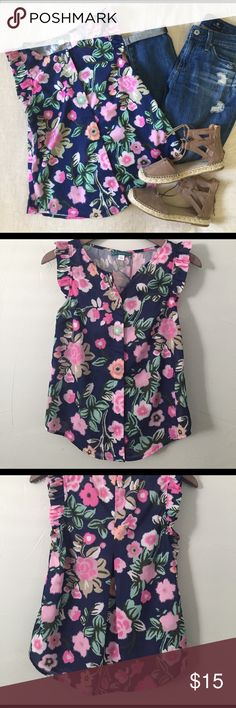PIM + LARKIN Maria Ruffle Sleeve Floral Blouse XS PIM + LARKIN Ruffle Maria sleeve floral print blouse. Hidden button up front.  100% polyester. Short tail hem. Gently used- excellent condition. Super cute for spring and summer! PIM + LARKIN Tops Blouses
