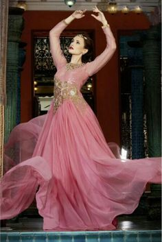 Net Semi Stitched Evening Gown In Pink Colour