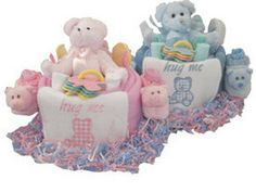 Blanket Cakes with Teddy Bears by BabyDuckGifts on Etsy, $35.99