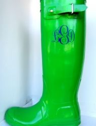 Script Swagstamp in blue- apple green Hunter rain boots