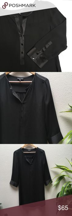 Eileen Fisher Black Silk Tunic Eileen Fisher, XS, black Silk tunic, collarless, side slits, never been worn, perfect condition Eileen Fisher Tops Tunics