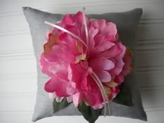Pink Peony Ring Bearer Pillow in Grey by DaniCalve on Etsy, $22.00