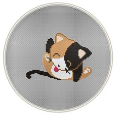 Counted cross stitch pattern, funny cross stith pattern, Cute Cat, Instant Download, Free shipping, Cross-Stitch PDF