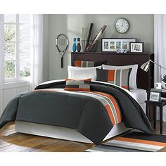 3 Piece Twin XL Orange Striped Comforter Set Geometric Pattern Featuring Grey Black Stripes Modern Circuit Design Vibrant Colorful Bedding for Boys Rectangle Blocks Patchwork ** Details can be found by clicking on the image.