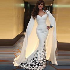 I Bay U White Satin Cloak Lace Applique Arabic Mermaid Evening Dresses Long Train Long Sleeve Embroidery Musilm Prom Party Gowns Prom Dresses 2017, Dresses Uk, Bridesmaid Dresses, Wedding Dresses, Bride Dresses, Dresses Online, Vintage Dresses, Petite Evening Dresses, Evening Gowns