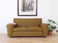 Beautiful Original 1920 s Art Deco Two Seater Sofa Settee - Mustard Yellow