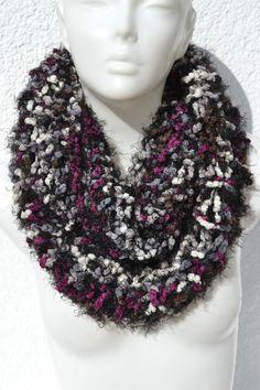 gestrickt - Loop Schlauchschal Schal violett grau meliert - ein Designerstück von Masche21 bei DaWanda