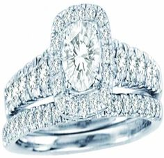 White Gold Halo Shape Style With Round Center Stone And Round Diamonds Bridal Ring Set (1.02ct. tw) -28137177