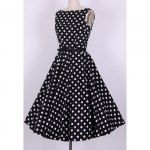 Precious in Polka-Dot....Wholesale Vintage Sweetheart Neckline Lace Splicing Bow Short Sleeves Dress For Women (AS THE PICTURE,L), Vintage Dresses - Rosewholesale.com