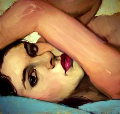 Malcolm T. Liepke (b. 1953), oil on canvas {contemporary figurative female head reclining woman face portrait painting} Affectionate!!