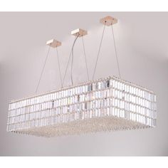AM4000B LED Baguette Flat Laser Cut Crystal Pendant Chandelier This piece is customize-able to your size, finish and color preference and ships free worldwide!!