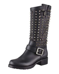 Valentino Noir Rockstud Tall Motorcycle Boot. You can check out more boyfriend boots at http://www.wantering.com/trends/boyfriend-shoes/