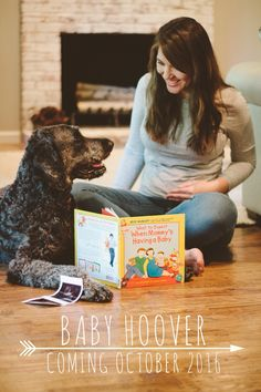 Baby announcement with dog