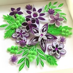 """I'm on a flower kick lately.... maybe it's because of the snow we're having. Spring come soonTitle: """"PURPLE GARDEN"""" 9"""" x 9"""" (22cmx22cm ) Quilling, hand crafted paper artwork by Jan and Shannon. For custom orders please contact us at quilling_in_@hotmail.com This image is copyrighted to ©quilling_in_harmony. All rights reserved. Do not reproduce or copy my designs. Thanks so much. #quillinginharmony #quilling #quillingart #paperfiligree #paperart #paper #quilledpaperart #paperquilling #in..."""